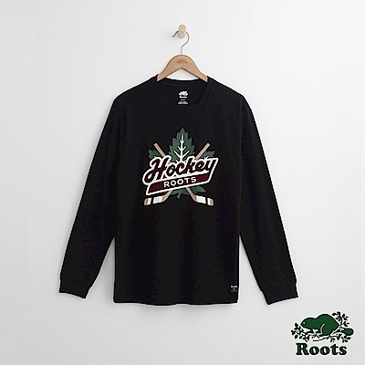 Roots 男裝- 曲棍球長袖T恤-黑