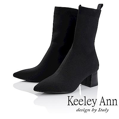 Keeley Ann 俐落時尚~素面透氣布粗跟中筒靴(黑色-Ann)