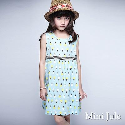 Mini Jule 洋裝 滿版冰淇淋蝴蝶結腰帶無袖洋裝(水藍)