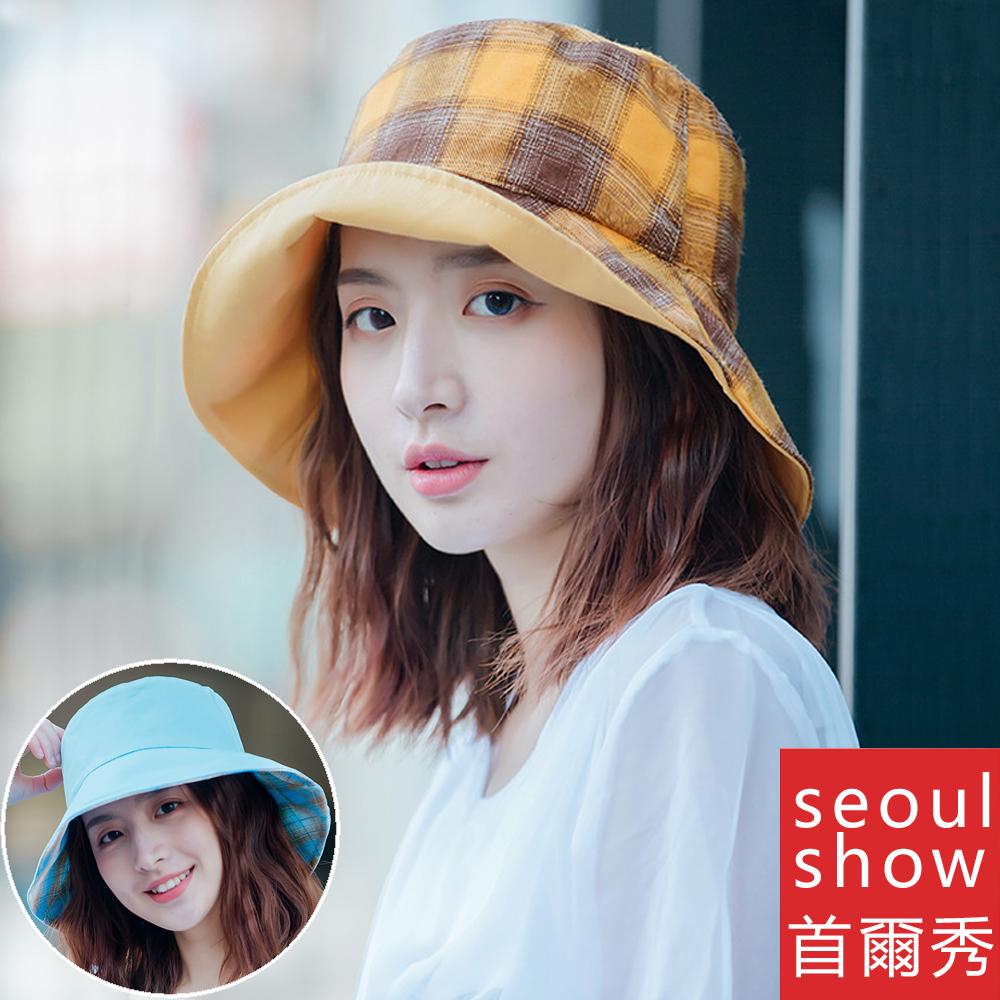 seoul show首爾秀 雙面戴格子漁夫帽四季防曬遮陽帽