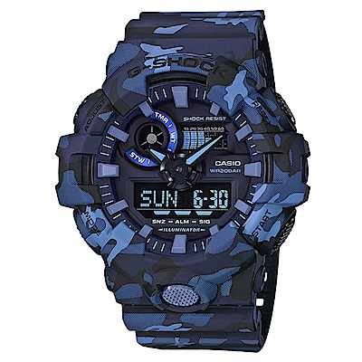 G-SHOCK視覺衝擊迷彩風格雙顯運動錶(GA-700CM-2A)藍53.4mm