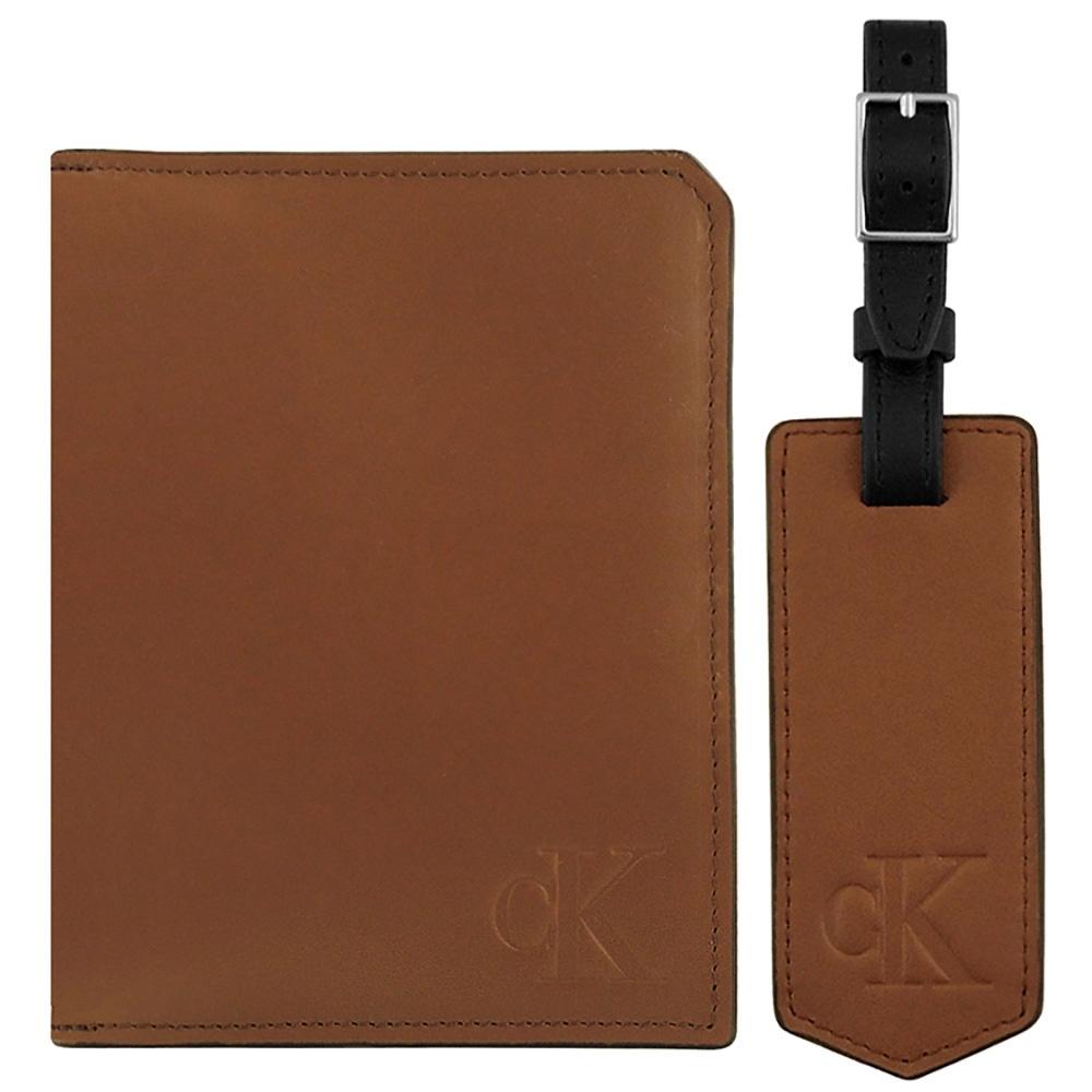Calvin Klein 焦糖色真皮護照夾/行李吊牌組合