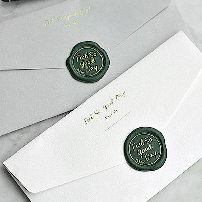 PLEPIC 好經典皮革蠟封章萬用信封袋組-森林綠