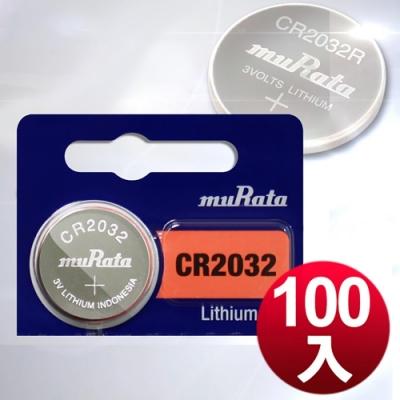 muRata 公司貨 CR2032 / CR-2032 鈕扣型鋰電池(100顆入)