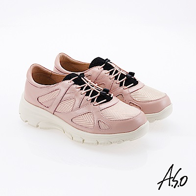 A.S.O  超彈力 鬆緊綁帶超彈力休閒鞋 粉