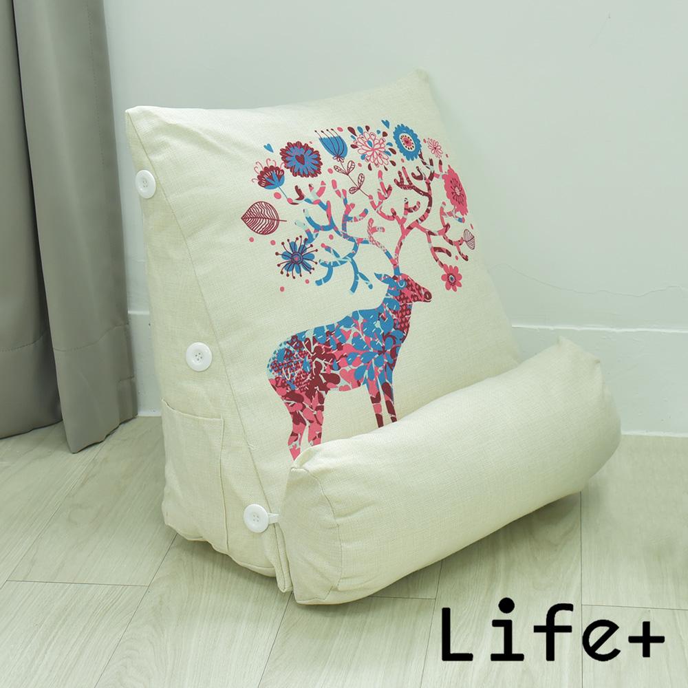 Life Plus 寂靜自然 舒壓萬用棉麻靠枕/抱枕/腰靠枕 (花樹鹿)