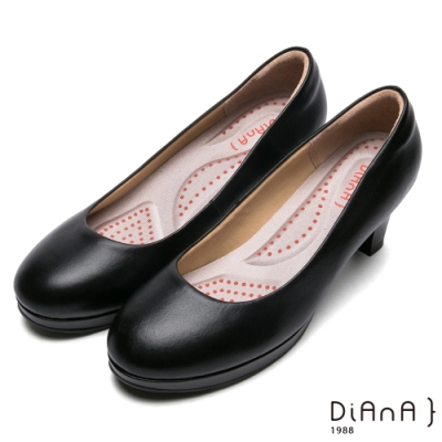 DIANA舒適素面圓頭6公分防水台制鞋-漫步雲端厚切輕盈美人款-黑