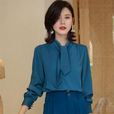 設計所在Lady-雪紡襯衫寬鬆蝴蝶結上衣飄帶時尚(三色M-2XL可選)