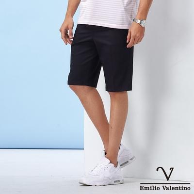 Emilio Valentino范倫鐵諾 男裝 經典彈力修身平面休閒短褲_丈青(70-1C5703)