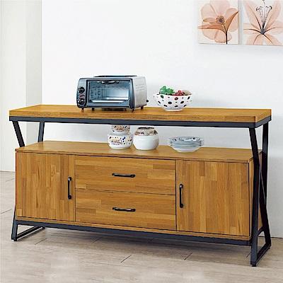綠活居 凱琳工業風5尺二門二抽餐櫃/收納櫃-150x40x82cm免組