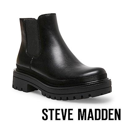 STEVE MADDEN-LIV 經典極簡時尚側鬆緊帶短筒靴-黑色