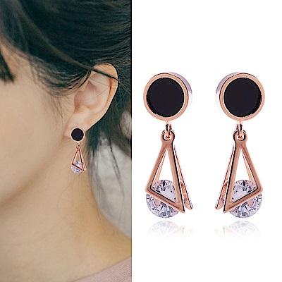 梨花HaNA 無耳洞韓國黑金圓飾三角夾水晶耳環夾式