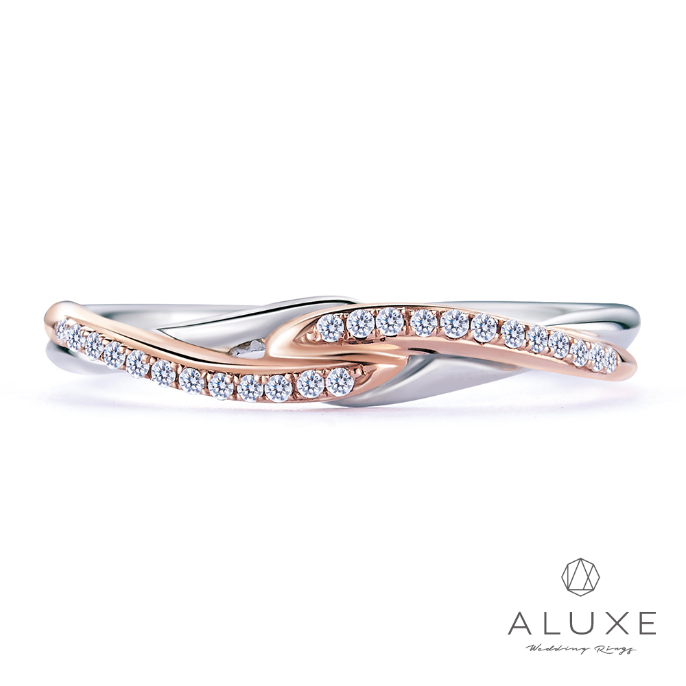 A-LUXE 亞立詩 18K雙色編織鑽石女戒