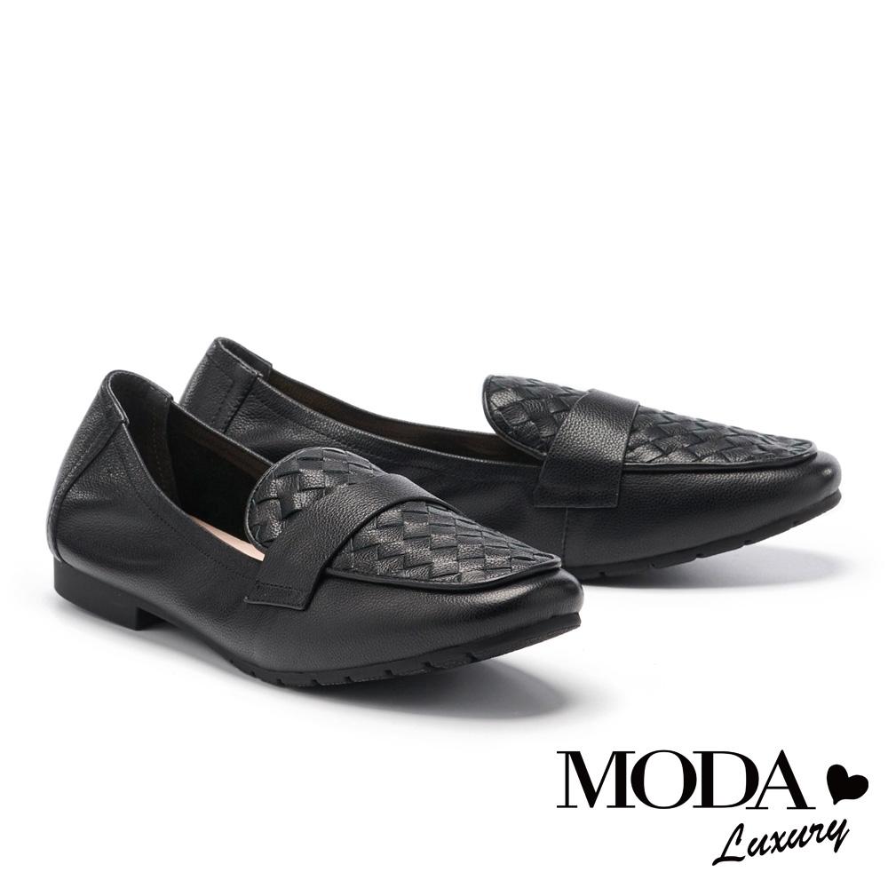 低跟鞋 MODA Luxury 簡約舒適編織造型樂福低跟鞋-黑