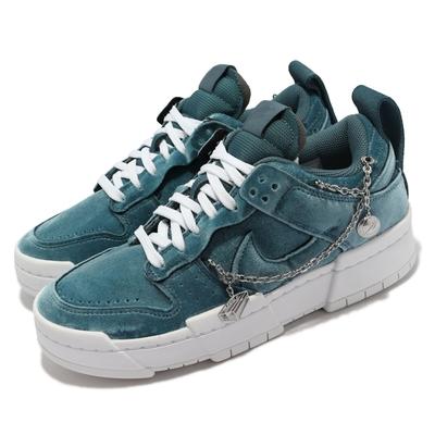 Nike 休閒鞋 Dunk Low Disrupt 女鞋 基本款 解構 質感 絨布 球鞋穿搭 藍綠 白 DO5219-010