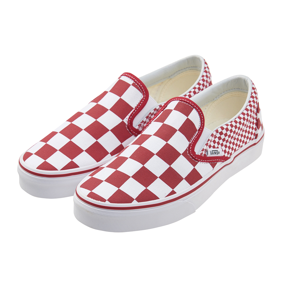 (女)VANS Classic Slip-On 棋盤格休閒懶人鞋*紅白