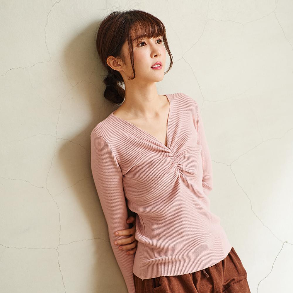 慢 生活 V領抓皺坑條針織衫-F 咖啡/粉紅