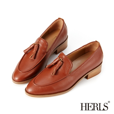 HERLS樂福鞋-全真皮捲心流蘇尖頭粗跟樂福鞋-棕色