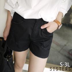 美腿顯瘦破破感後縮腰牛仔褲短褲(M-3L) SISTERS