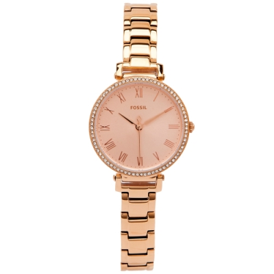 FOSSIL 羅馬風鑽鑲設計款的女性手錶(ES4447)-香檳色面/28mm