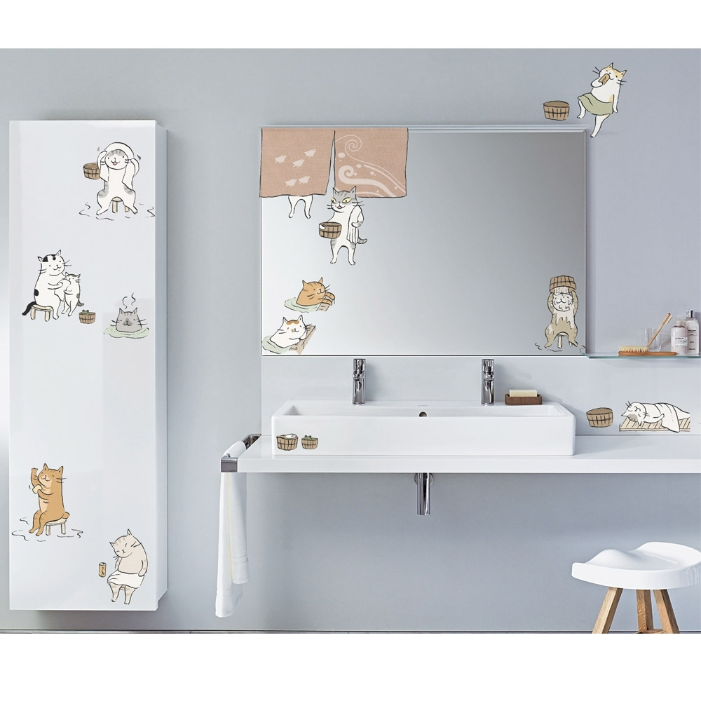 GIU133 貓小姐系列創意壁貼-來去貓澡堂