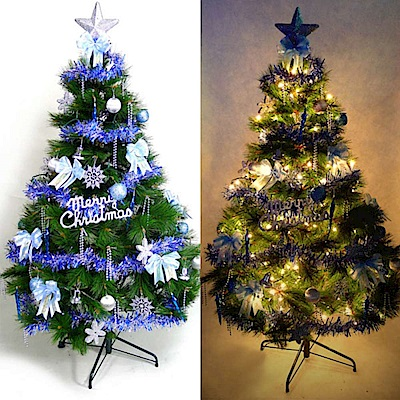 摩達客 4尺特級綠松針葉聖誕樹(藍銀色系配件+100燈鎢絲樹燈清光一串)
