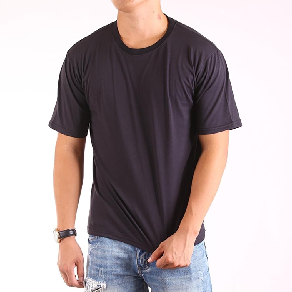 CS衣舖 台灣製造 速乾棉 吸濕排汗 透氣 短袖T恤 情侶T 五色 (黑+天空藍)