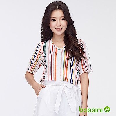 bossini女裝-V領五分袖直條紋上衣灰白