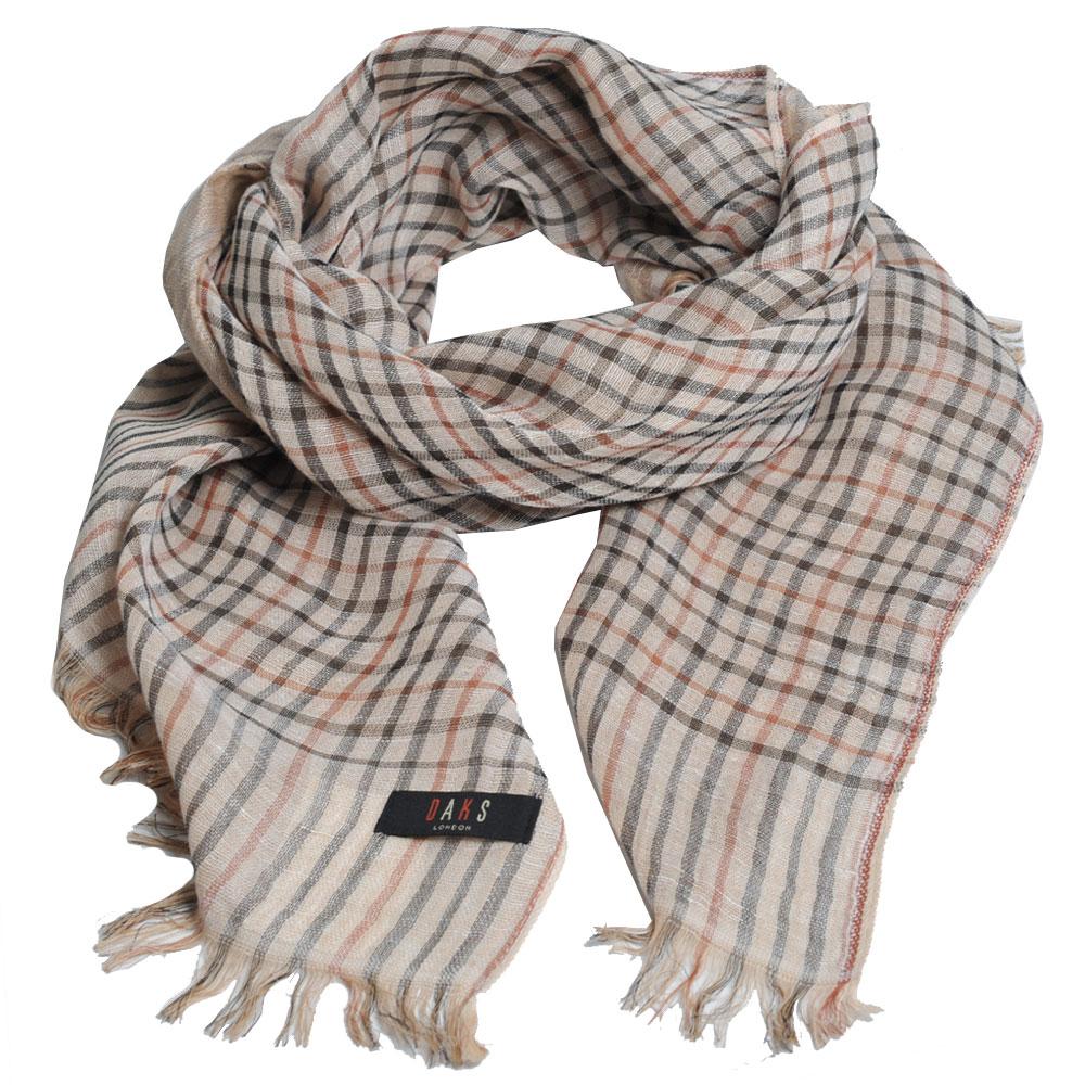 DAKS 日本製經典格紋棉麻混紡圍巾(駝色格)