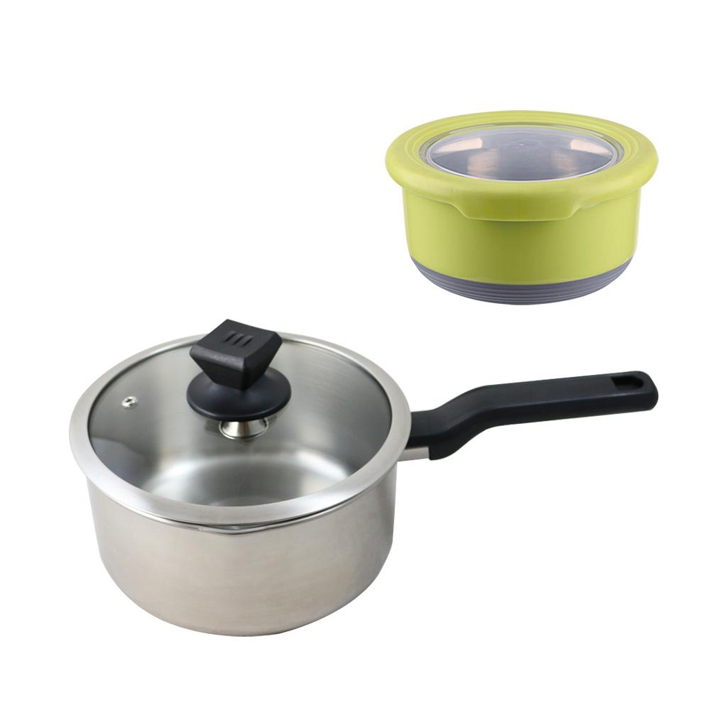鵝頭牌不鏽鋼日式單把湯鍋20cm  送雙色防滑保鮮盒顏色隨機出貨