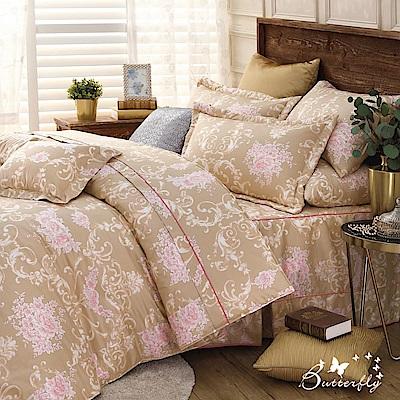 BUTTERFLY-台製40支紗純棉加高30cm薄式單人床包+單人鋪棉兩用被-奢華情調-金
