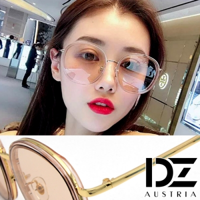 【2件59折】DZ 潮人層圓框 抗UV防曬太陽眼鏡墨鏡(金框茶片)