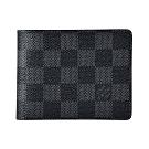 LV N64002 SLENDER棋盤格LOGO Damier帆布4卡對折短夾(黑)