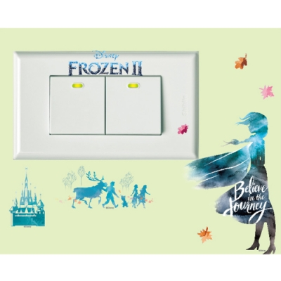 BID128 迪士尼冰雪奇緣2系列開關壁貼-相信旅程