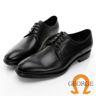 GEORGE喬治皮鞋 輕量系列 漸層刷色真皮綁帶氣墊鞋 -黑 115002BW