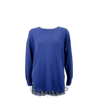 Andre Maurice 喀什米爾側開叉圓領寶藍色羊毛針織衫