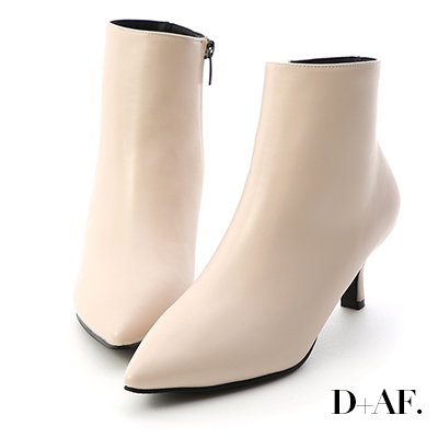 D+AF 完美曲線.素面美型尖頭中跟短靴*米白