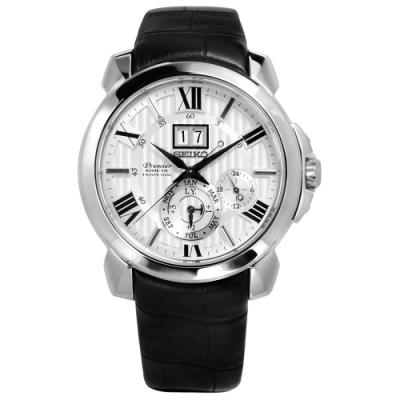 SEIKO 精工 Premier 人動電能 萬年曆 牛皮手錶-銀x黑/43mm
