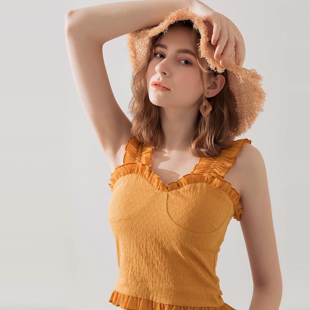 AIR SPACE 荷葉肩帶純色上衣(橘)