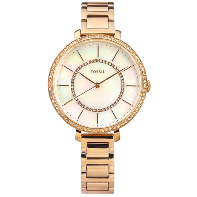 FOSSIL 晶鑽鑲圈 珍珠母貝 礦石強化玻璃 不鏽鋼手錶-銀粉x鍍玫瑰金/36mm