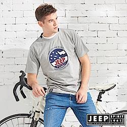 JEEP 美式立體徽章純棉短袖TEE-灰色