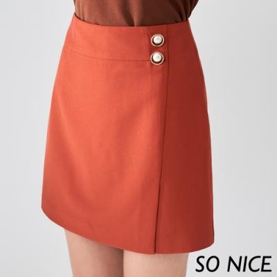 SO NICE簡約珍珠釦飾短裙