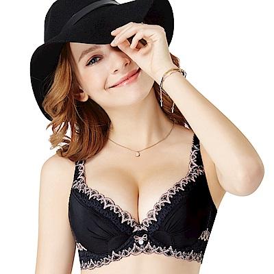 思薇爾 i黑白系列B-E罩蕾絲包覆內衣(黑色)