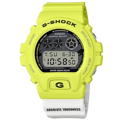 G-SHOCK CASIO 卡西歐 電子液晶 運動計時 防水 手錶 黃x白黑撞色 48mm