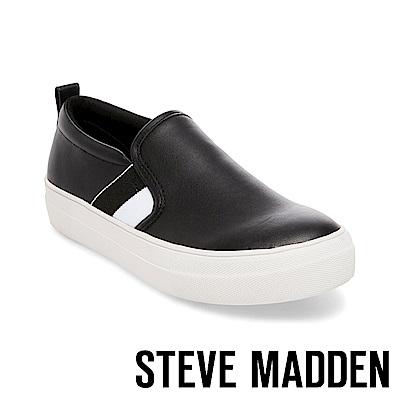STEVE MADDEN-GREYSON 時尚運動厚底懶人鞋-黑色