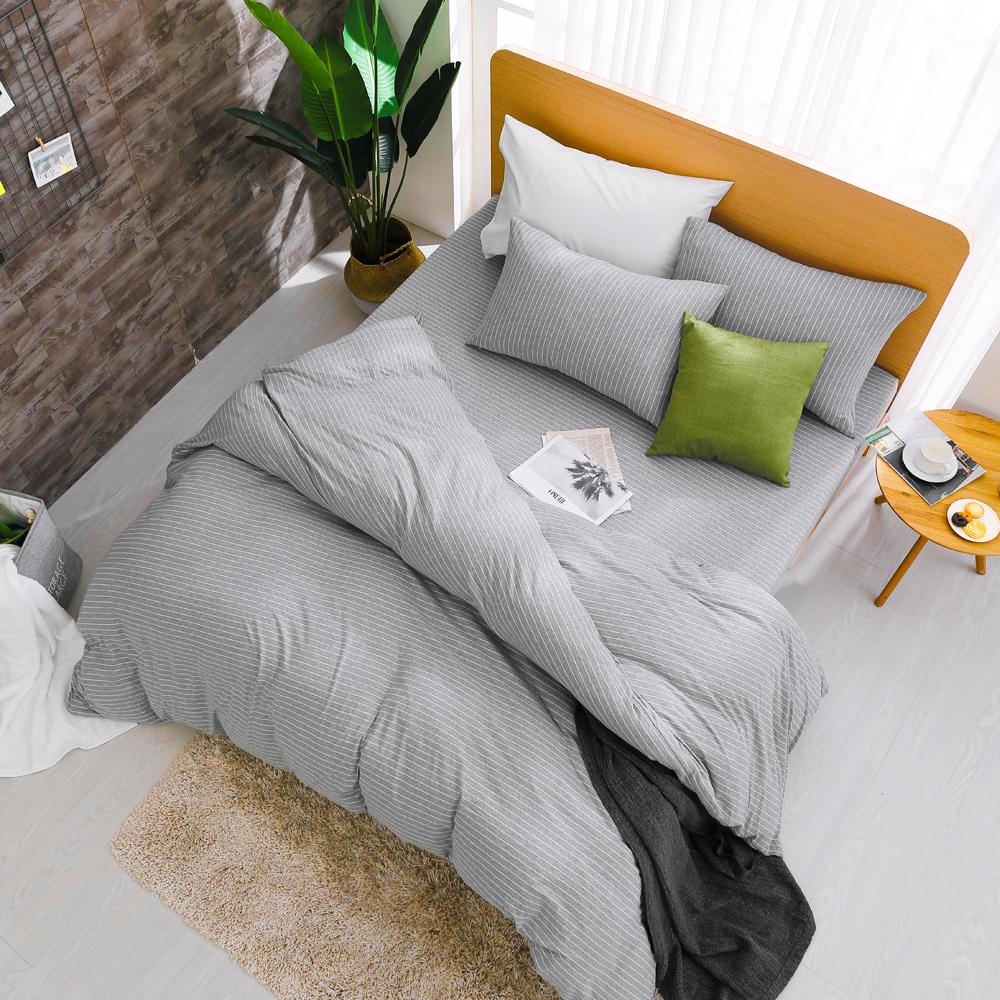 鴻宇 雙人床包薄被套組 天竺棉 淺淺灰M2618