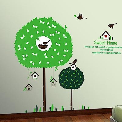 半島良品 DIY無痕壁貼-甜蜜家園樹 AY918 60x90cm