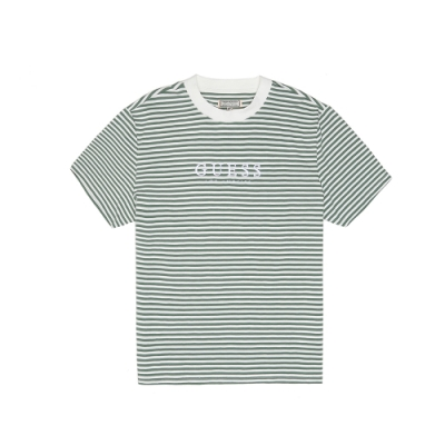 GUESS-男裝-細條刺繡字母logo短T-綠