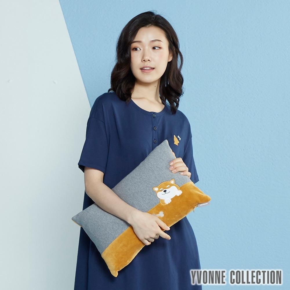 YVONNE COLLECTION 柴犬立體方形抱枕(30x45公分)-赤柴/岩石灰底