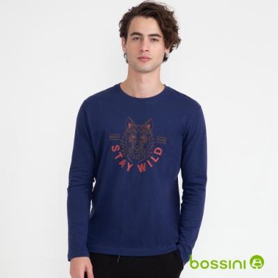 bossini男裝-印花長袖T恤08海軍藍